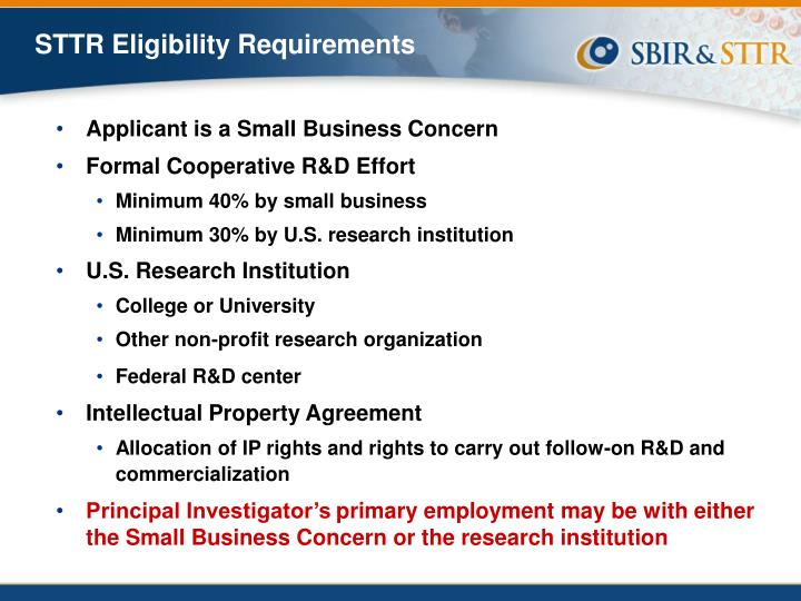 STTR Eligibility Requirements