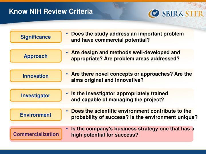 Know NIH Review Criteria
