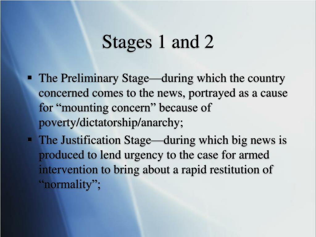 Stages 1 and 2