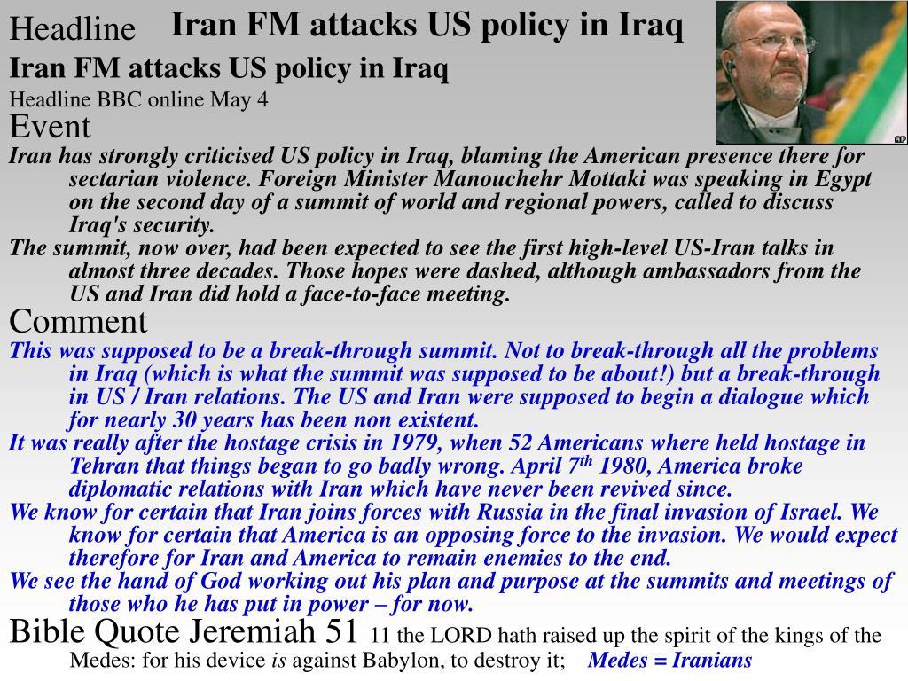 Iran FM attacks US policy in Iraq