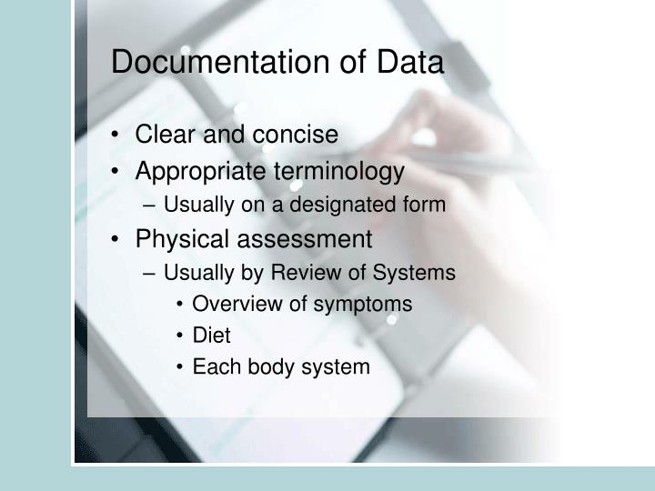 Documentation of Data
