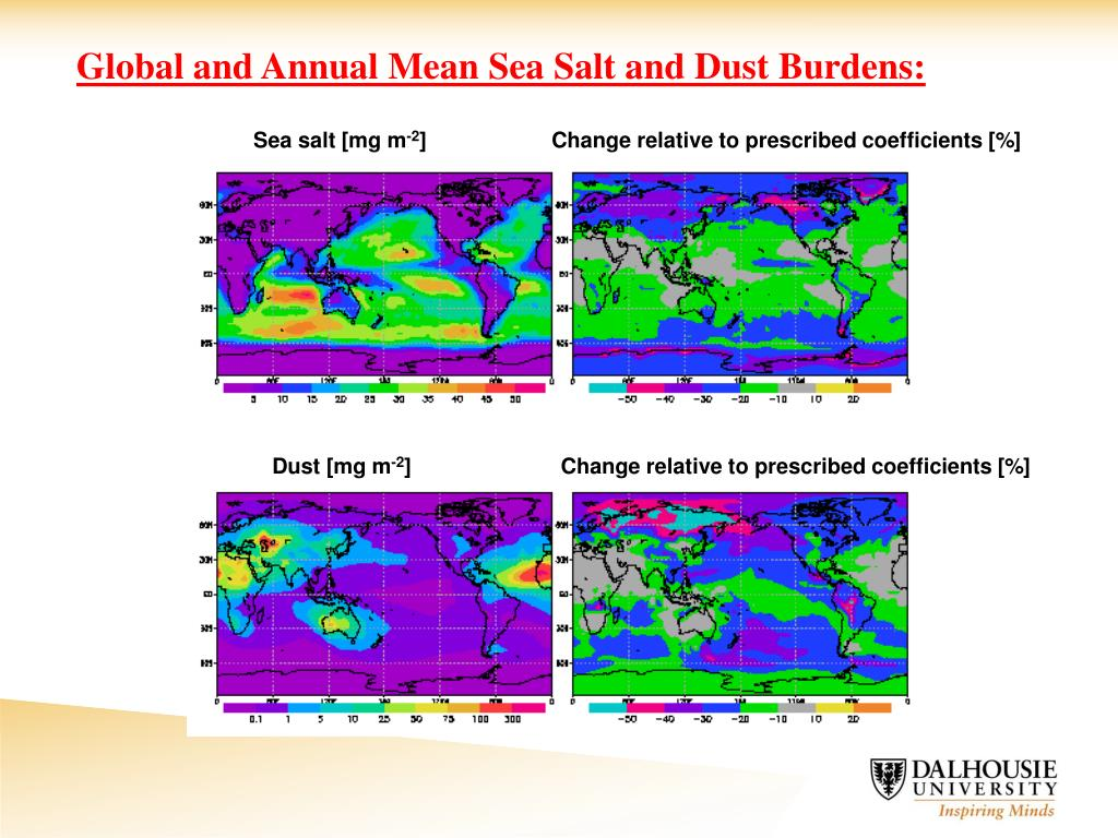 Global and Annual Mean Sea Salt and Dust Burdens: