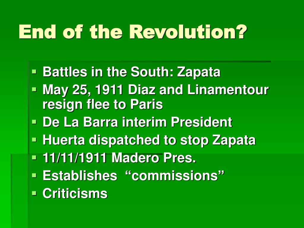 End of the Revolution?