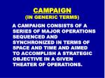 campaign in generic terms