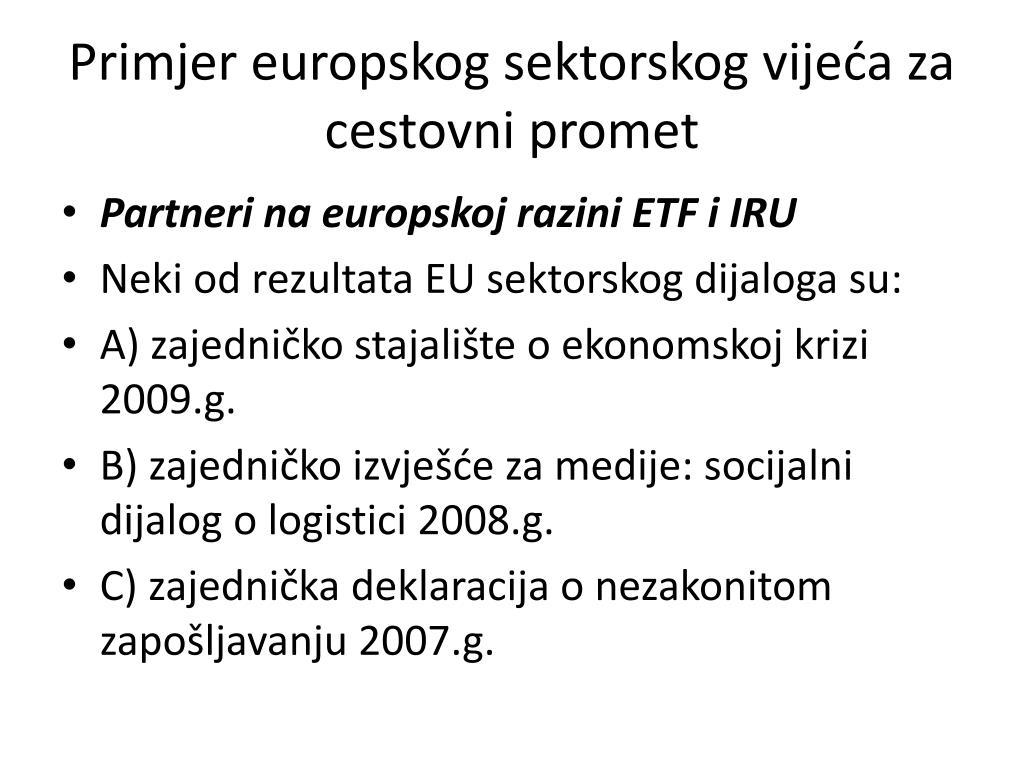 Primjer europskog sektorskog vijeća za cestovni promet