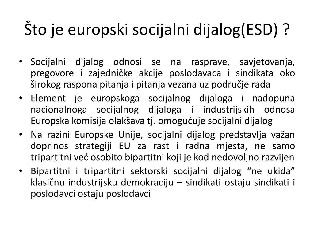 Što je europski socijalni dijalog(ESD) ?