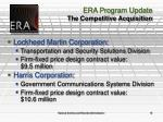era program update the competitive acquisition