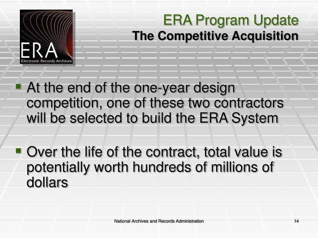 ERA Program Update