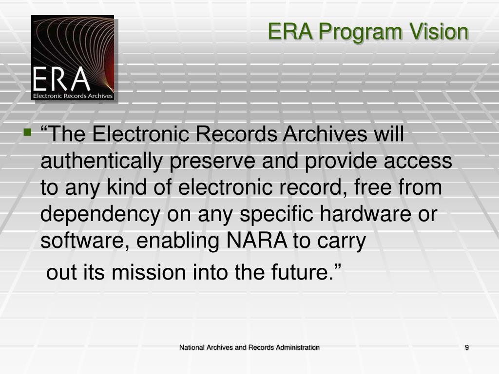 ERA Program Vision