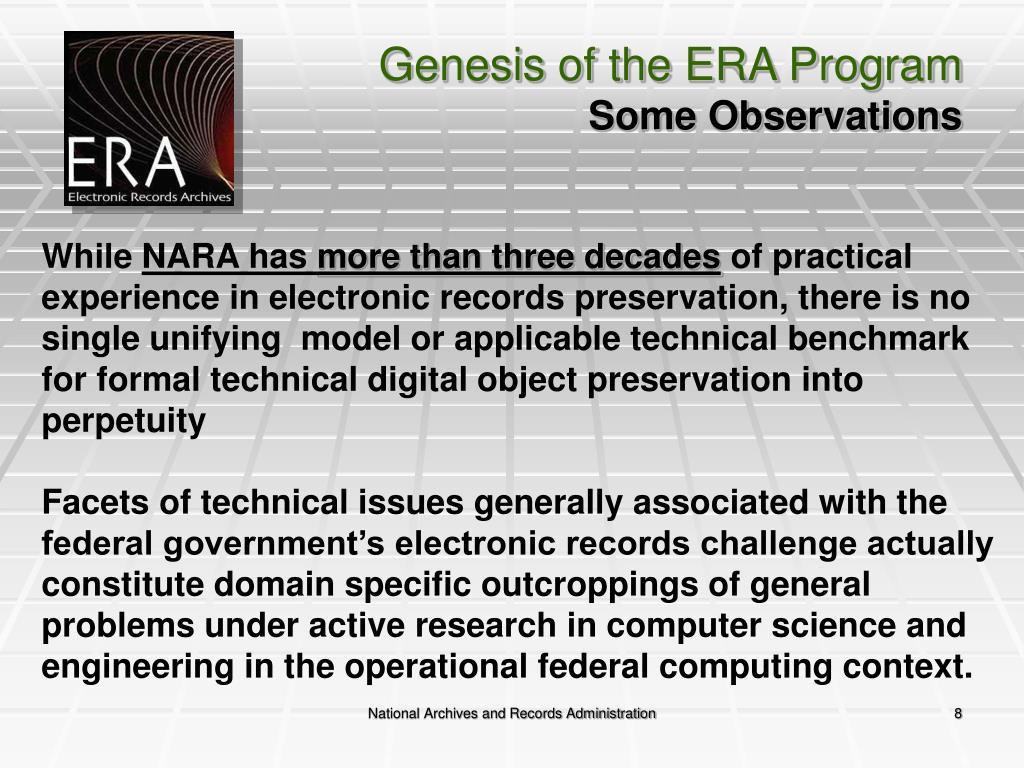 Genesis of the ERA Program