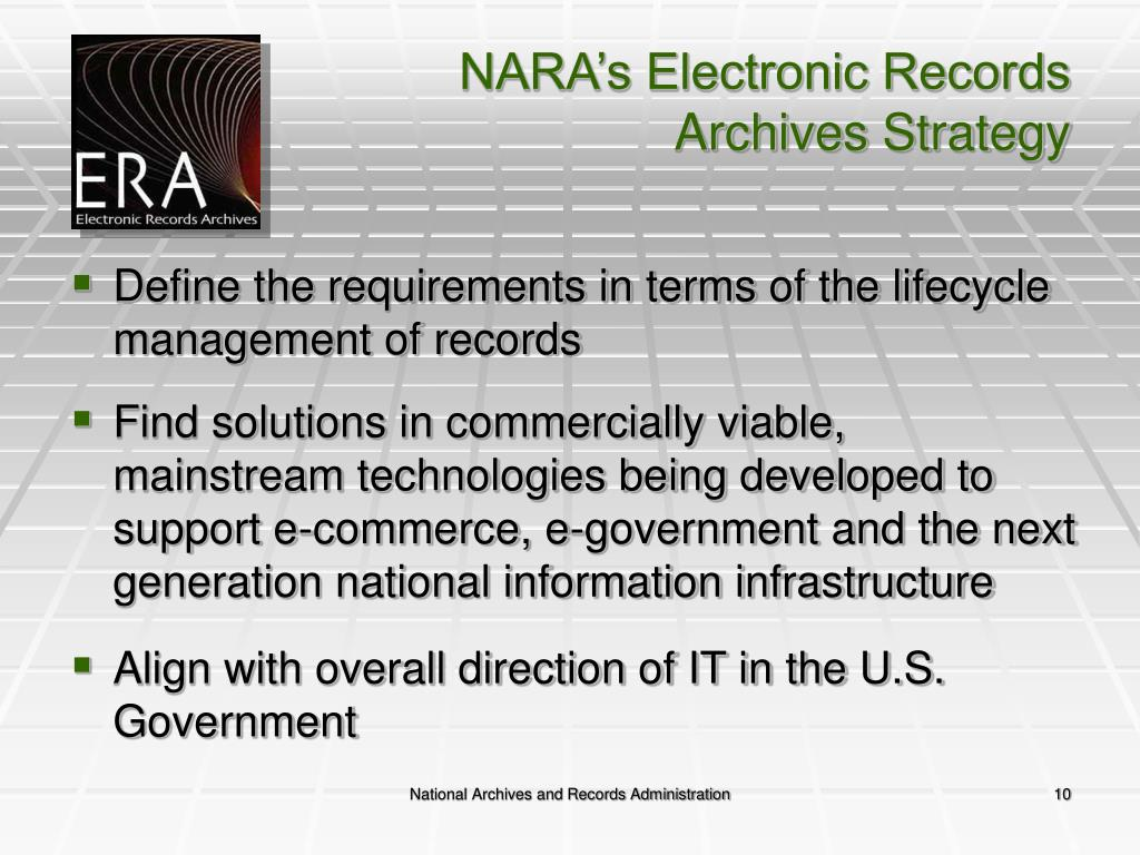 NARA's Electronic Records Archives Strategy