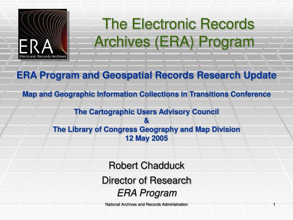 ERA Program and Geospatial Records Research Update