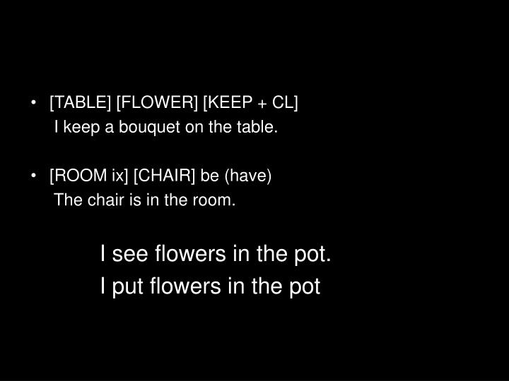 [TABLE] [FLOWER] [KEEP + CL]