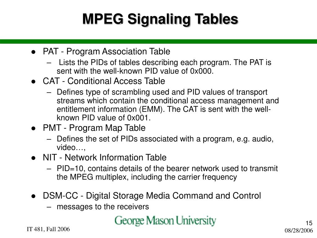 MPEG Signaling Tables