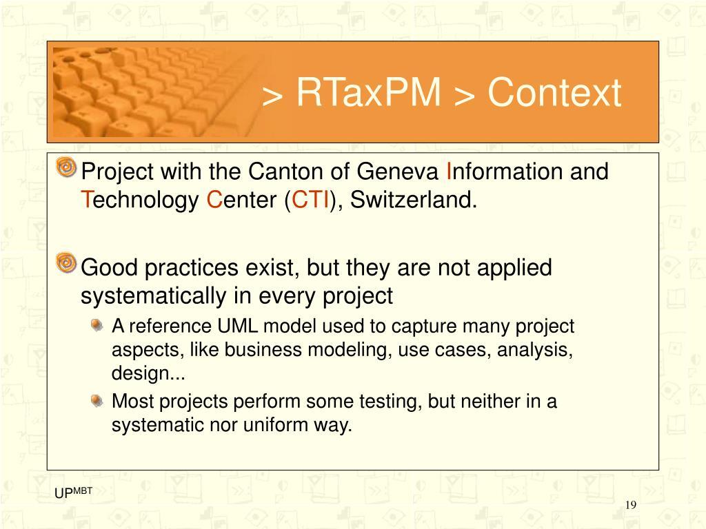 > RTaxPM > Context
