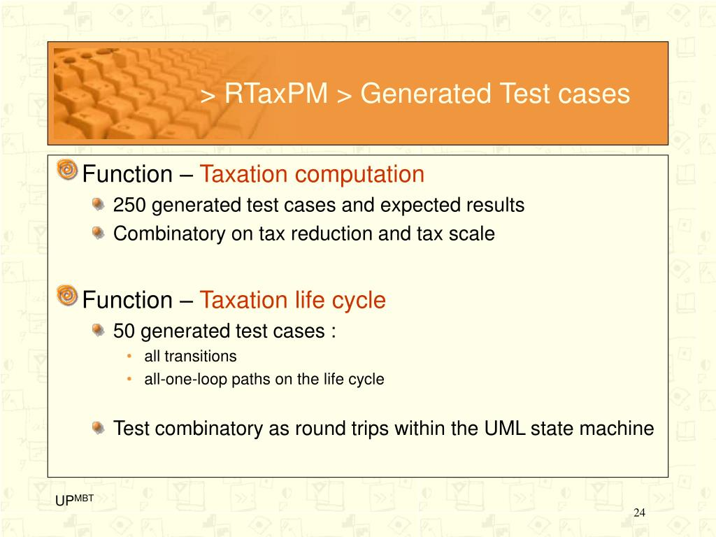 > RTaxPM > Generated Test cases