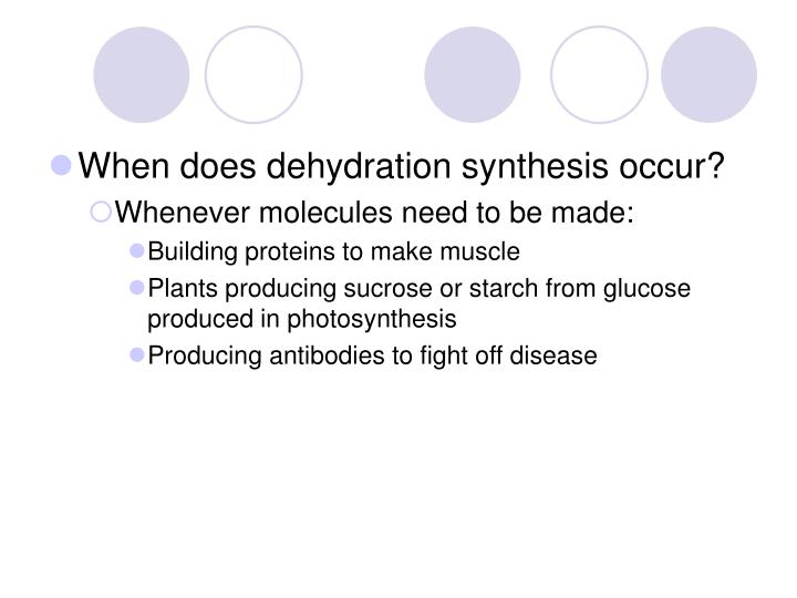 When does dehydration synthesis occur?