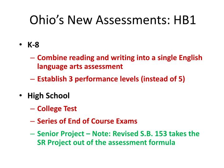 Ohio's New Assessments: HB1