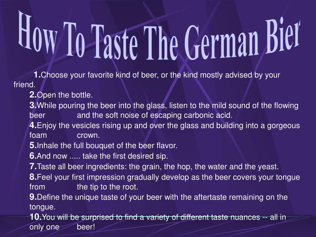 How To Taste The German Bier