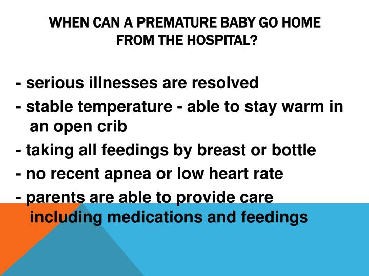 When can a premature baby go home