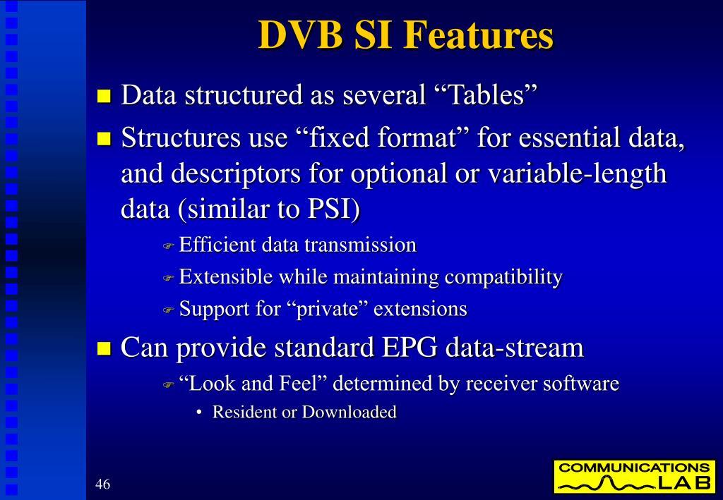 DVB SI Features