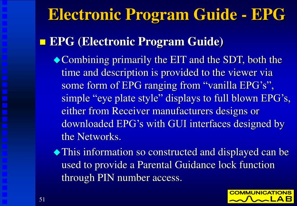 Electronic Program Guide - EPG
