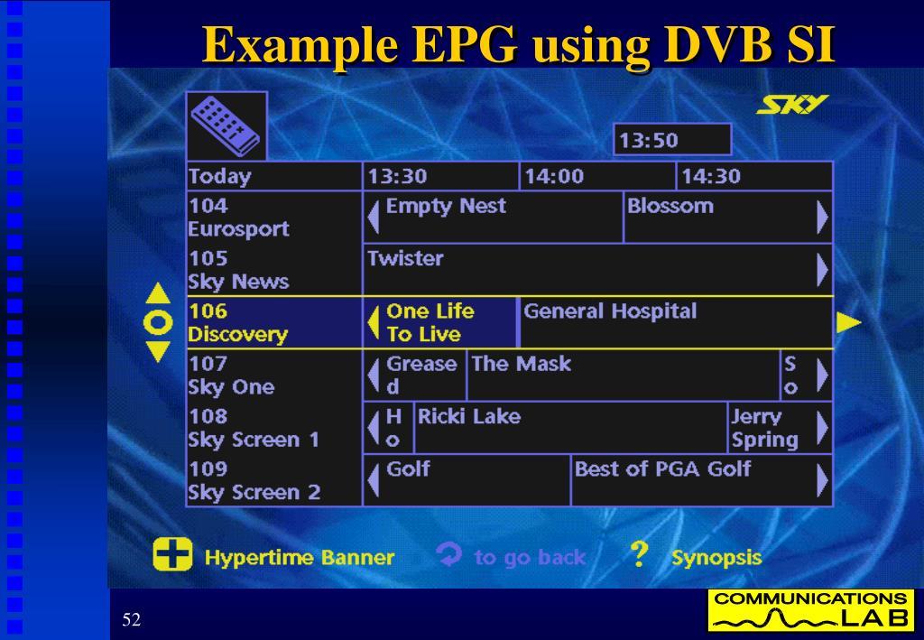Example EPG using DVB SI