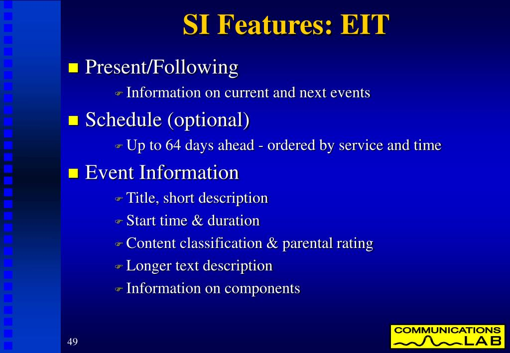 SI Features: EIT