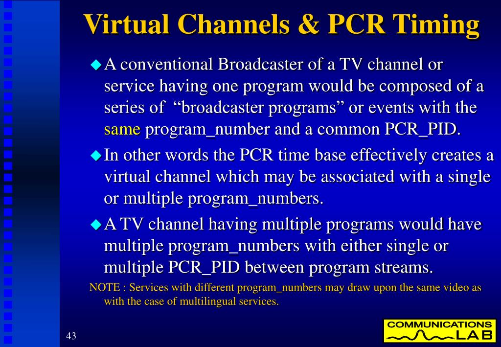 Virtual Channels & PCR Timing