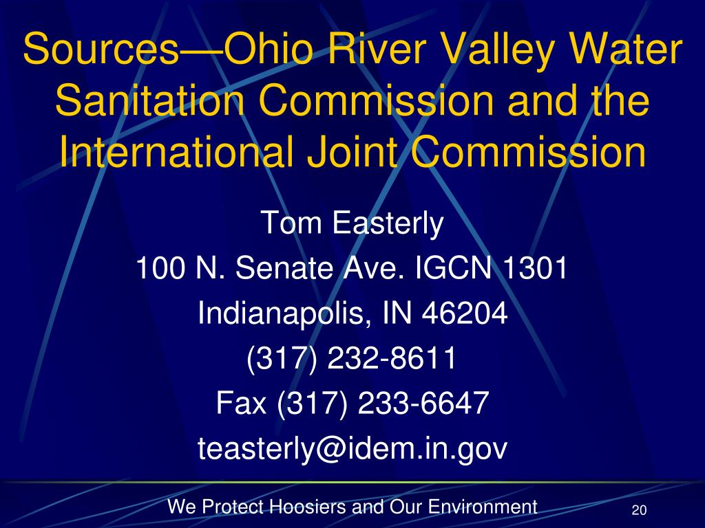 Sources—Ohio River Valley Water Sanitation Commission and the International Joint Commission