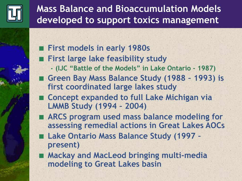 Mass Balance and Bioaccumulation Models developed to support toxics management