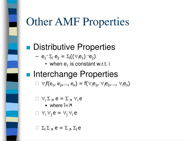 Other AMF Properties