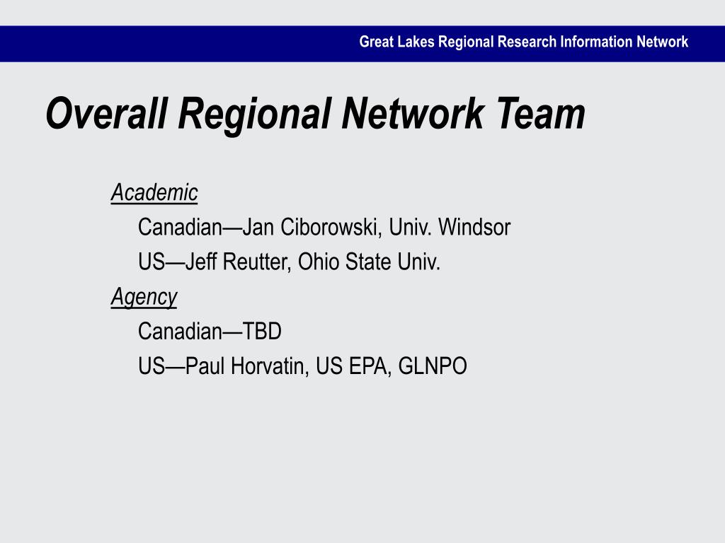 Overall Regional Network Team