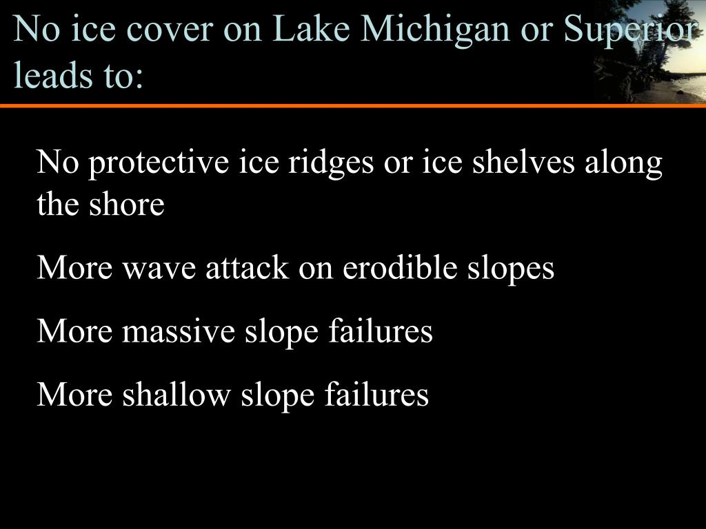 No ice cover on Lake Michigan or Superior leads to: