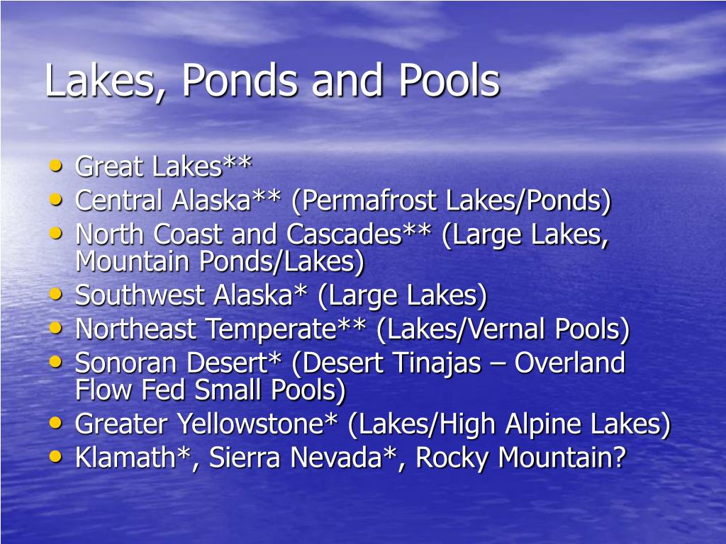Lakes, Ponds and Pools