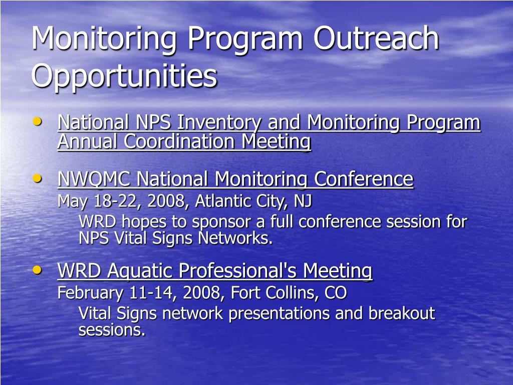 Monitoring Program Outreach Opportunities