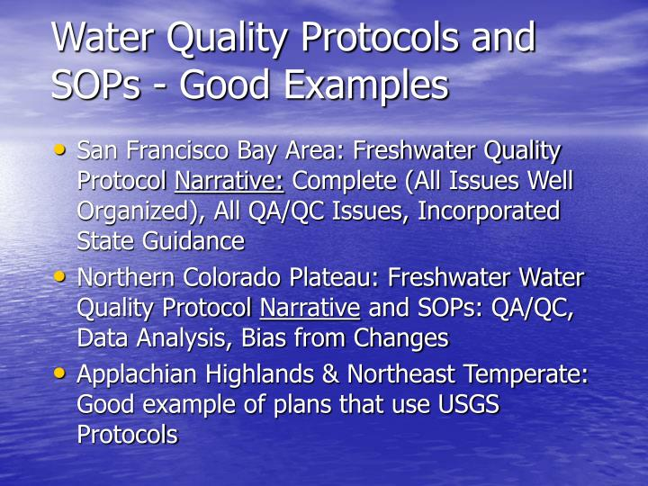 Water quality protocols and sops good examples