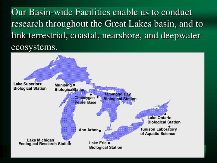 Our Basin-wide Facilities enable us to conduct research throughout the Great Lakes basin, and to lin...