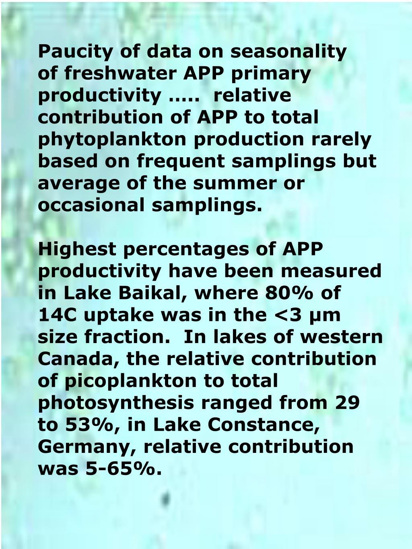 Paucity of data on seasonality