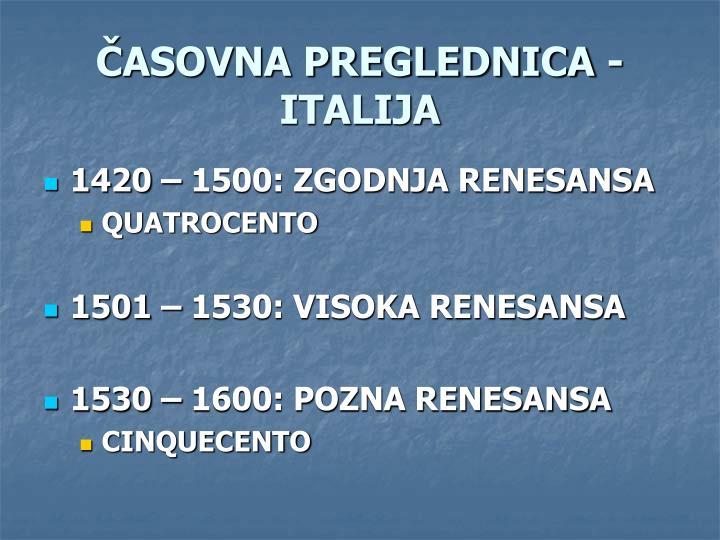 ČASOVNA PREGLEDNICA - ITALIJA