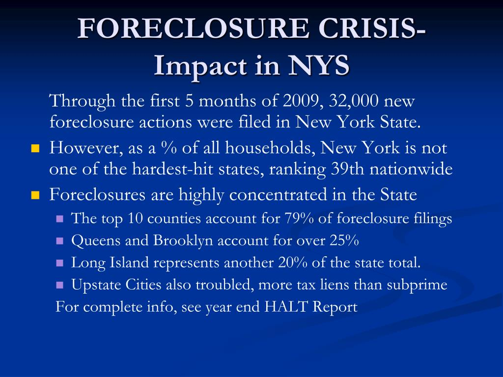 FORECLOSURE CRISIS-