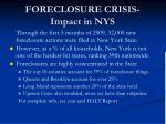foreclosure crisis impact in nys