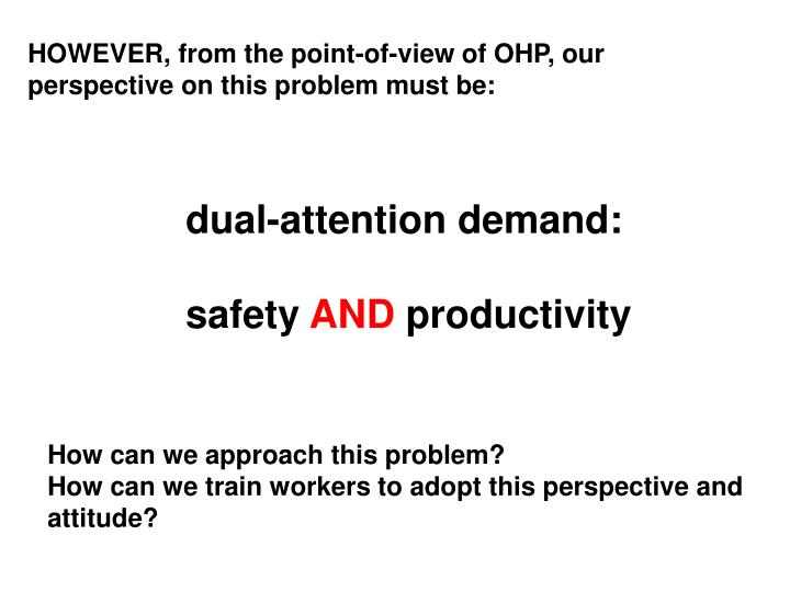 HOWEVER, from the point-of-view of OHP, our perspective on this problem must be: