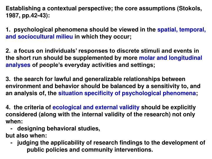 Establishing a contextual perspective; the core assumptions (