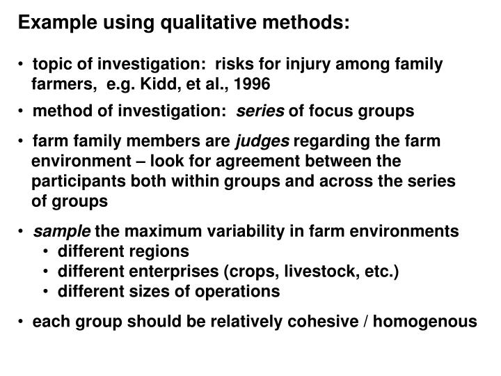 Example using qualitative methods: