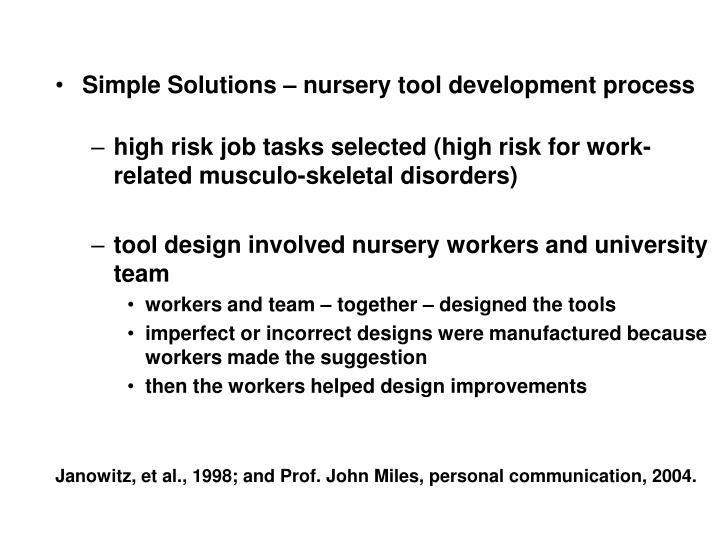 Simple Solutions – nursery tool development process