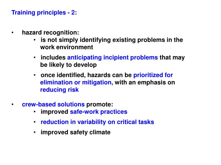 Training principles - 2: