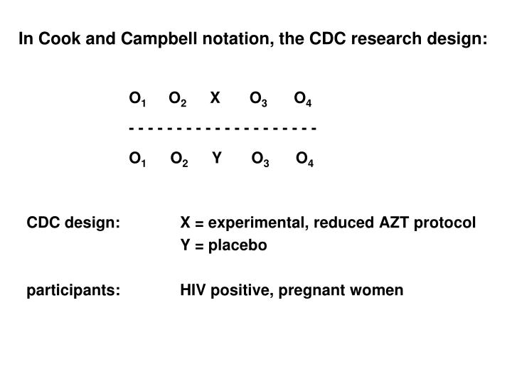 In Cook and Campbell notation, the CDC research design: