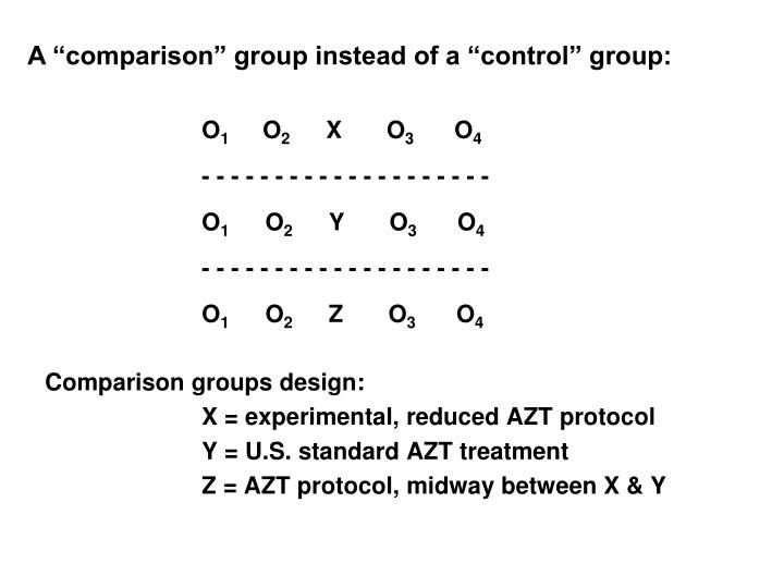 "A ""comparison"" group instead of a ""control"" group:"