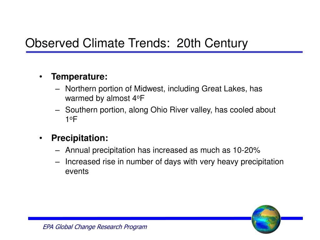 Observed Climate Trends:  20th Century